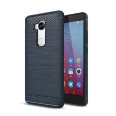 Moonmini untuk Huawei Honor 5X/Huawei GR5 [5.5 Inch] Carbon Fiber Tekstur Brushed Soft TPU Anti- Slip Back Case-Biru Laut-Internasional