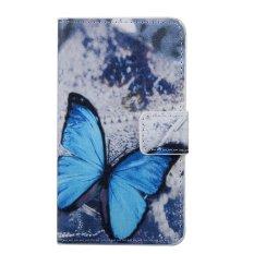 Moonmini Kulit PU Case Flip Dompet Stand Cover untuk Microsoft Lumia 850-biru Kupu-kupu-Internasional