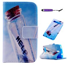 Moonmini PU Kulit Case Flip Dompet Stand Cover untuk ACER Betouch E140-botol Apung-Intl