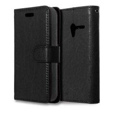 Moonmini PU Leather Cover untuk Alcatel One Touch Pixi 3 4.0 OT-4013 (Hitam)-Intl