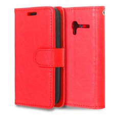 Moonmini PU Leather Cover untuk Alcatel One Touch Pixi 3 OT4009E 3.5 Inch (Merah)-Intl