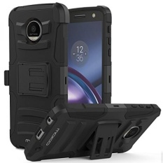 Moto Z Droid Case, MoKo Shock Absorbing Hard Cover Ultra Protective Heavy Duty Case with Holster Belt Clip + Built-in Kickstand for Motorola Moto Z Droid Edition 5.5 Inch - Black - intl