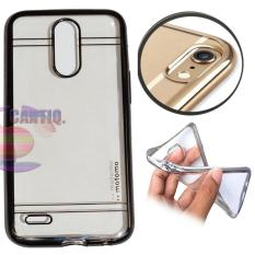 Motomo Chrome LG K10 2017 Shining Chrome / Silikon LG K10 2017 Shining List Chrome / Ultrahin LG K10 2017 List Chrome Black Jelly Case / Case LG K10 2017 / Casing Hp  - Hitam