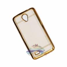 Motomo Chrome Vivo Y21 / Y22 Softcase Shining List Chrome Glamour / Tpu Jelly Case/ Ultrahin Ring Glossy / Sofshell / Jelly Silikon / Silicone Shinning Kilau / Case HP / Case Unik / Casing Vivo  - Transparant List Gold