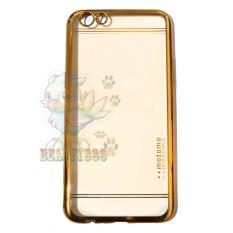 Motomo Chrome Case Oppo F3 Plus Shining Chrome / Ultrahin Oppo F3 Plus List Chrome Jelly Case / Silikon Oppo R9S Plus Shining List Chrome Gold / Soft Case / Casing Handphone - Gold