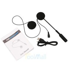 Harga Motor Helm Headset Bluetooth 4 Dual Stereo Speakers Hands Free Panggilan Musik Kontrol Mic Earphone Hitam Warna Hitam Baru