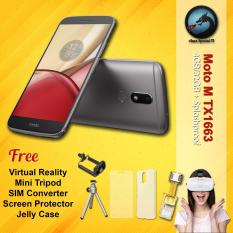 Motorola Moto M TX1663 4GB RAM Splashproof + Free VR Glasses + Mini Tripod + SIM Converter + Screen Protector + Jelly case Garansi Resmi