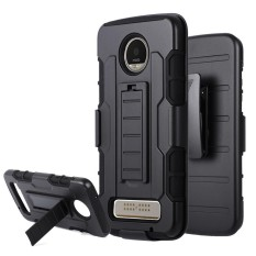 Motorola Moto Z PLAY Case Dual Layer Holster Slide Hybrid TPU + PC with Belt Clip (Black)
