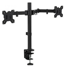 Mount-It! Dual Monitor Mount Desk Stand for LCD LED Computer Displays Two Articulating Arms Clamp Desk Installation Fits up to 27 Inch Screens Heavy-Duty VESA 75 and 100 (Dual Monitor) - intl