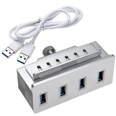 Mountable Aluminium 4 Port USB 3.0 Hub untuk Mac Pro, IMac, Macbook Air, Macbook Pro, Mac Pro dan Mac Mini, Lebih Banyak PC dan Laptop (Perak)
