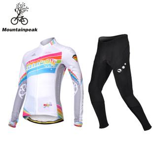 Mountainpeak Baju Balap Sepeda Beludru Tipis Musim Semi atau Musim Gugur Pakaian Balap Sepeda Lengan Panjang Wanita (Pelangi Beludru tipis Jas)