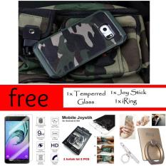 Mouzel Case Army For Samsung Galaxy S6 Edge Free Joy Stick Mobile Game + iRing + Temperred Glass ORI FULL BODY (MELENGKUNG)