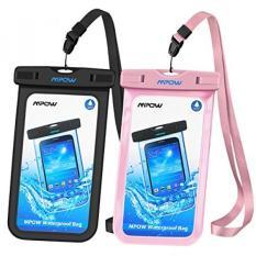 Mpow Universal Anti-Air Case, IPX8 Anti-Air Telepon Kantung Kering Tas untuk iPhone X/8/8 Plus/7/7 Plus/ 6 S/6/6 S Plus Samsung Galaksi S8/S7 Google Piksel HTC10 (Hitam, merah Muda 2-Bungkus)-Internasional