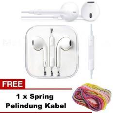 MR (BONUS KABEL PELINDUNG KABEL) handfree mp3 warna earphone Headset Earpods Handsfree general dengan Mic cocok untuk iPhone 5G 5S 6s iphone 6G 6S - putih