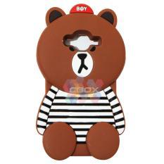 MR Soft Case 3D Animasi Samsung Galaxy Grand 2 G7106 Boy Bear With Clothes Horizontal Line Black /