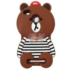 MR Soft Case 3D Animasi Xiaomi Redmi 3 Pro Boy Bear With Clothes Horizontal Line Black / Silicone 3