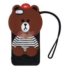 MR Soft Case 3D Animasi Oppo A39 Bear Brown Line Horizone Black with Necklaces / Silicone 3D Oppo A39 Bear Brown / Softcase Unik Oppo A39 / Jelly Case Lucu Oppo A39 /  Softshell 3D Oppo A39 - Beruang Cokelat + Kalung
