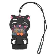 MR Soft Case 3D Cat + Kalung iPhone 5 / 5G / 5S / 5SE / Softcase Kartun Lucu / Jelly Case / Casing Iphone5 - Funny Cat  + kalung (Hitam)