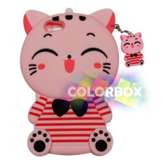 MR Soft Case 3D Oppo A39 Pink Cat Red Horizontal Line / Silikon 3D Oppo A39 / Softcase Kartun / Jelly Case / Case Hp Unik / Casing Silicone Oppo A39 - Kucing Pink