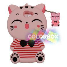 MR Soft Case 3D Samsung Galaxy J5 Prime Pink Cat Red Horizontal Line / Silikon 3D Samsung J5 Prime / Softcase Kartun / Jelly Case / Case Hp Unik / Casing Silicone Samsung J5 Prime - Kucing Pink