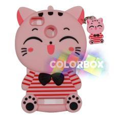 MR Soft Case 3D Xiaomi Mi 4C Pink Cat Red Horizontal Line / Silikon 3D Xiaomi Mi 4c / Softcase Kartun / Jelly Case / Case Hp Unik / Casing Silicone Xiaomi - Kucing Pink