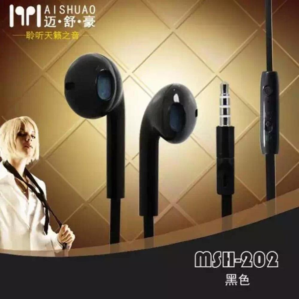 MSH 202 handsfree stereo extra bass cocok untuk handphone Samsung / Oppo / Xiaomi / Asus dan iPhone - black