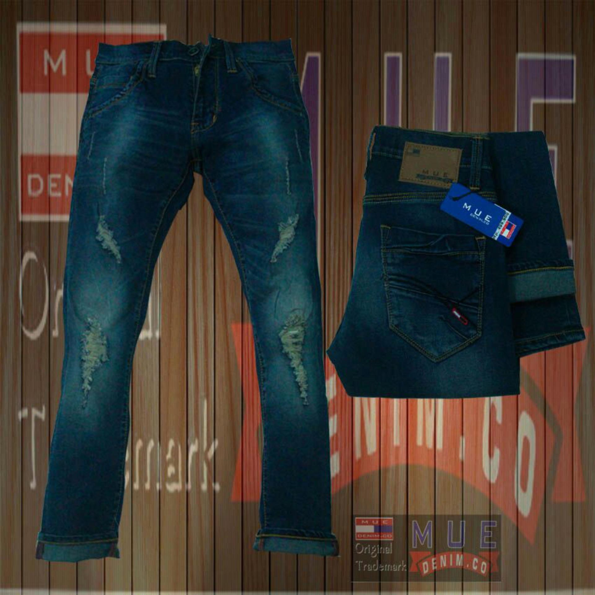 Jual Mue Denim Co Celana Panjang Pria Model Sobek Bahan Soft Jeans Streets Pants Terbaru Ori