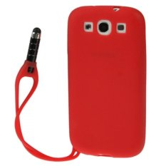 Multi-purpose Silicone Protective Case with Stylus Touch Pen for Samsung Galaxy SIII / i9300 - Merah