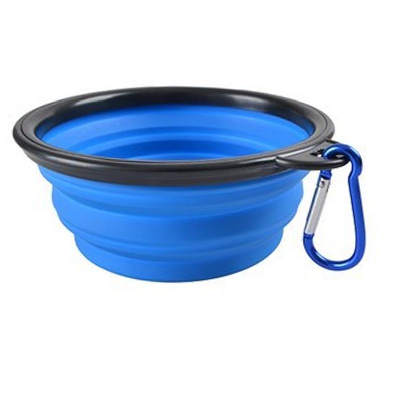 Multi Warna Pet Dog Puppy Portable Silicone Collapsible Travel Feeding Bowl Makanan Water Dish Feeder Warna: Biru Gaya: None-Intl