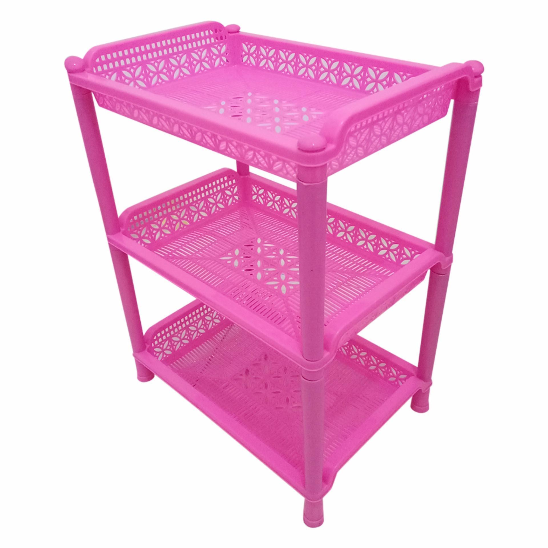 Multiplast Rak Plastik Serbaguna Susun 3 - Pink By Toko David.