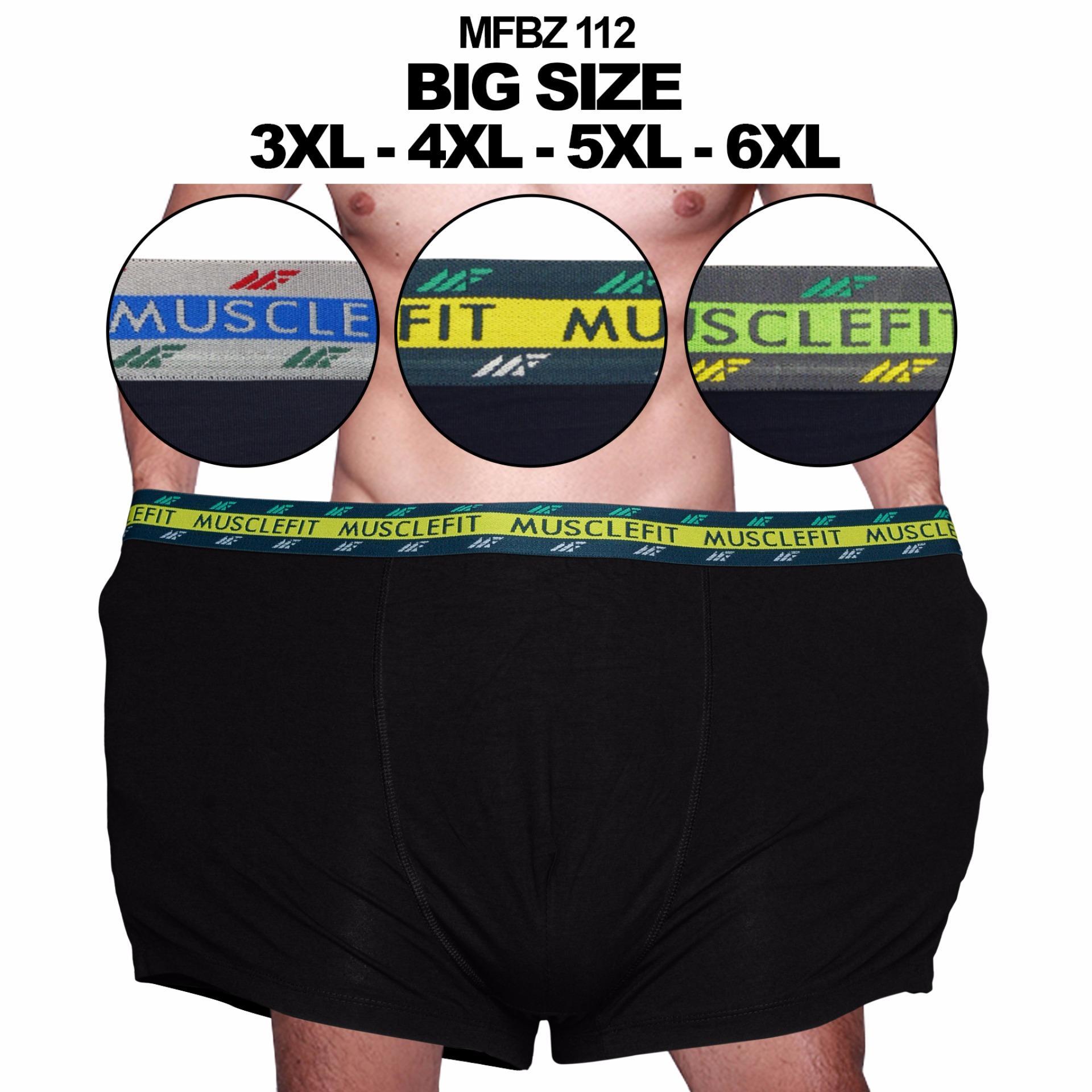 Muscle Fit Celana Dalam Pria MFBZ-112 Big Size Boxer 3XL-4XL-5XL-6XL - 1 pcs - Hitam