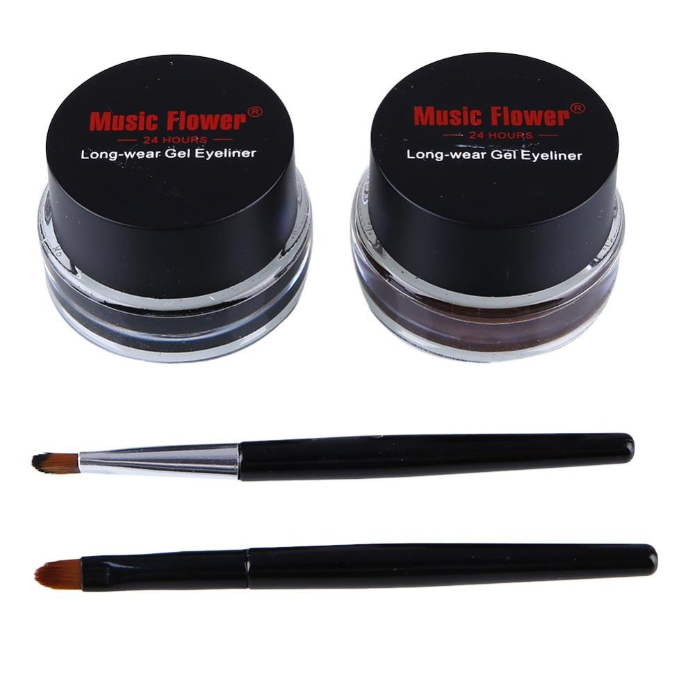 Spesifikasi Music Flower Cosmetics Smooth Waterproof Bicolor Liquid Eyeliner Kajal Gel Intl Paling Bagus