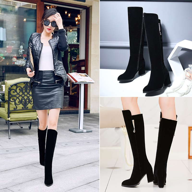 Ulasan Lengkap Musim Gugur Dan Musim Dingin Dengan Hangat Cashmere Boots Shoes High Heeled Sepatu Boots Boots Kaki Panjang Barrel Trend Secara Signifikan Dadong Boots Intl