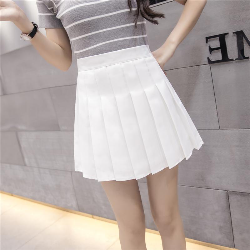 Beli Ulzzang Rok Rok Berbentuk Huruf A Perempuan Baru Kotak Kotak Zipper Putih