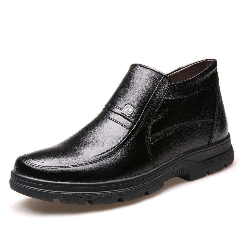 Iklan Musim Gugur Dan Musim Dingin Pria Kapas Sepatu Plus Velvet Tipis Sepatu Kulit Lembut Bernapas Hangat Ayah Sepatu Intl