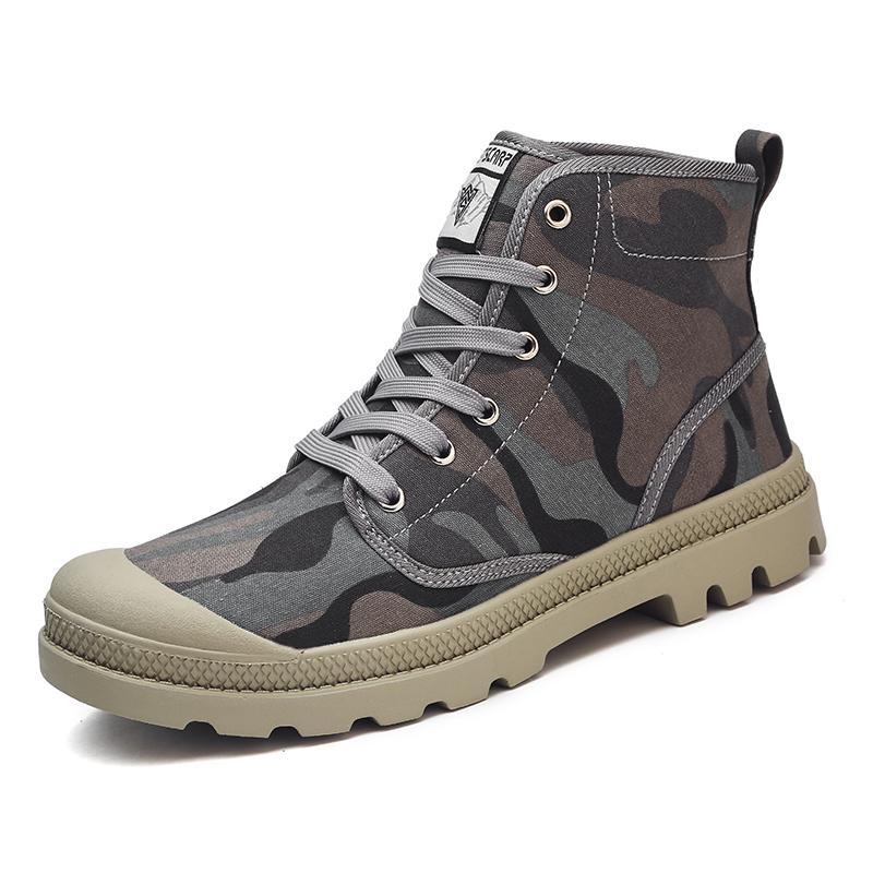Review Musim Gugur Dan Musim Dingin Tinggi Membantu Kamuflase Kanvas Sepatu Bot Di Tube Sports Sepatu Martin Luar Ruangan Ukuran Besar Pasangan Boots Plus Ukuran 36 47 Intl Terbaru