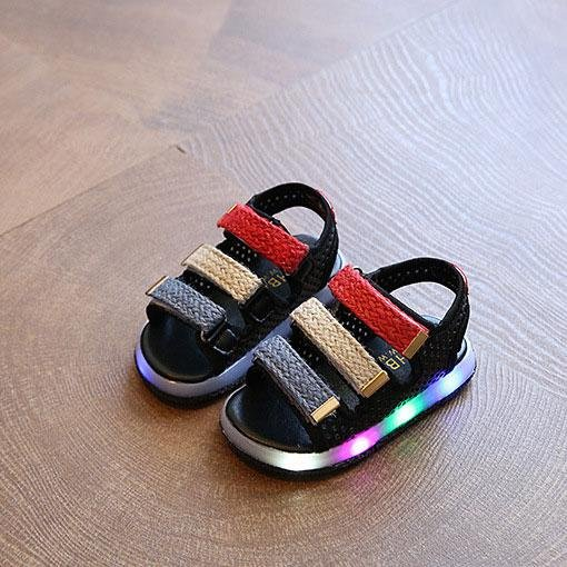 Summer boy girl casual shoes light light LED baby shoes sports sandals(Black)