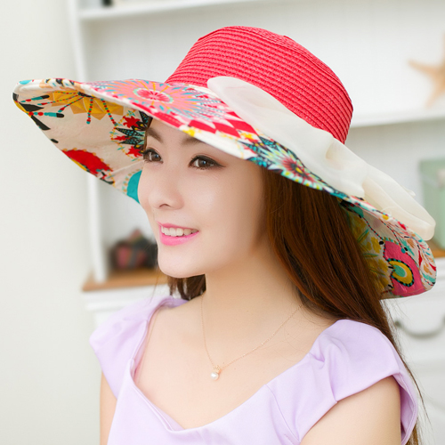 Jual Musim Panas Perempuan Topi Pantai Topi Matahari Topi Totem Semangka Hong Termurah