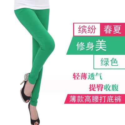 Musim Panas Warna Permen Elastisitas Tinggi Legging Model Tipis Pakaian Luar Celana Panjang Diperpanjang Highwaist Ukuran