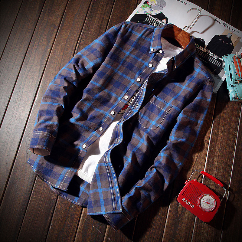 Musim Semi Dan Gugur Baru Kotak-kotak Pria Lengan Panjang Kemeja (Langer) baju atasan kaos pria kemeja pria