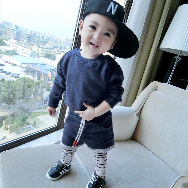 Spesifikasi Musim Semi Dan Musim Gugur Anak Laki Laki Katun Kaos Sweater Biru Tua Yg Baik
