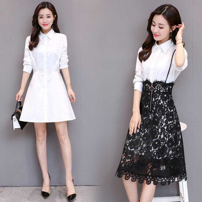 Rok Baru Slim Terlihat Langsing Kemeja Lengan Panjang (Gambar warna) baju wanita dress wanita Gaun wanita