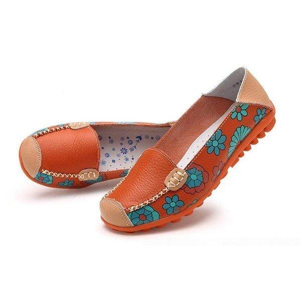Musim Semi Musim Gugur Santai Wanita Kulit Asli Sepatu Flat Kulit Lembut Wanita Sepatu Balet Sepatu Bulat Kaki Fleksibel Tiongkok