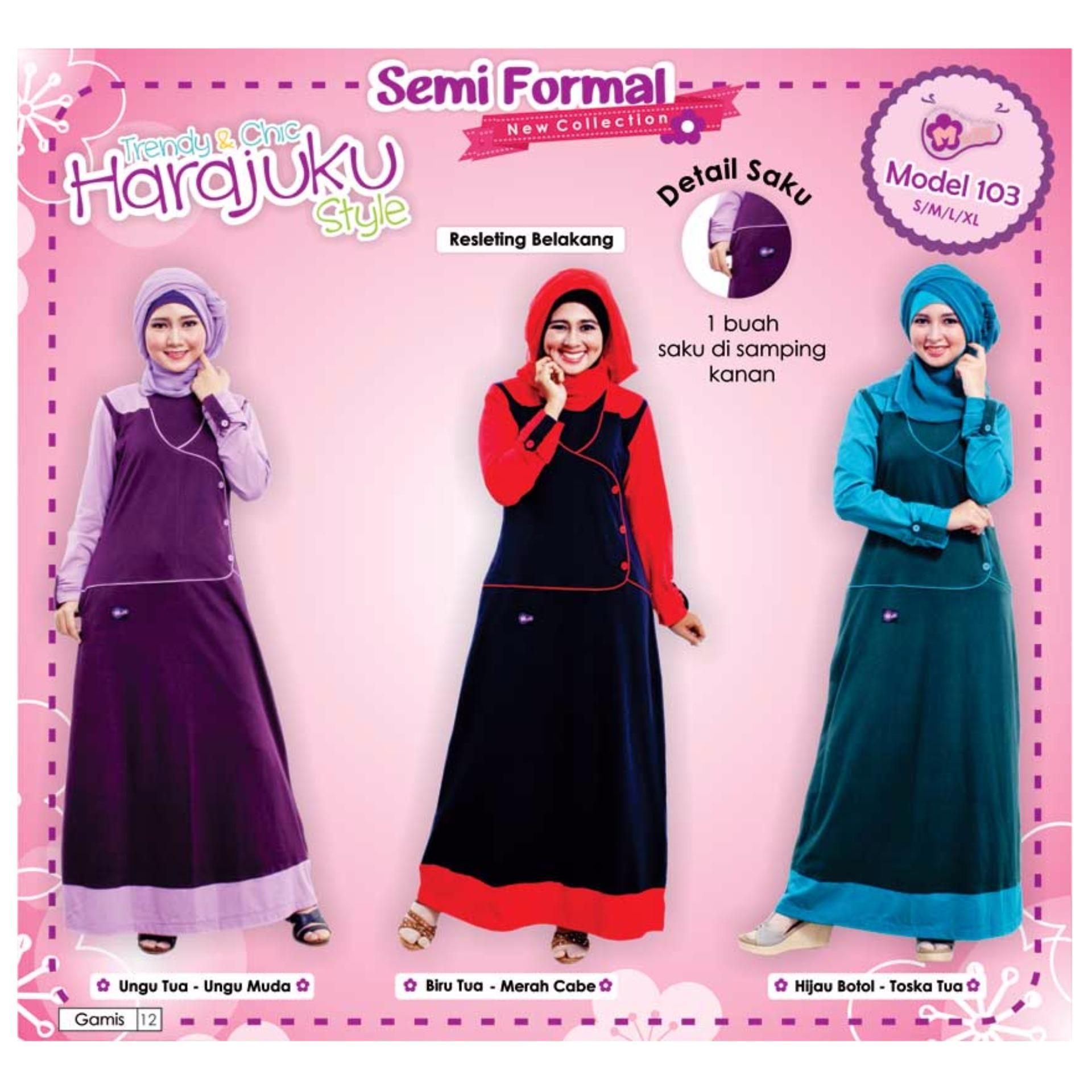 Mutif M-103 Dress Wanita Baju Muslim Modern Gamis Katun Combed Kaos Hijau Botol