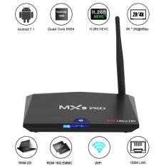 MX9 Pro Android 7.1 TV Box RK3328 Quad Core 64Bit 2G + 16G H.265 UHD 4K VP9 HDR 3D Mini PC WiFi Bluetooth 4.0 EU Plug - intl