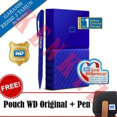WD My Passport New Design 1TB/2.5Inch/USB3.0 - Biru + Free Pouch + Pen
