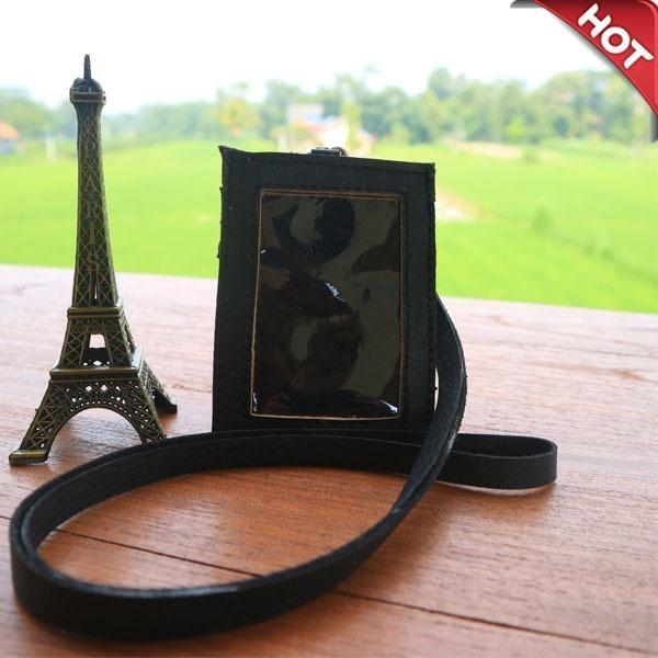 Name Tag ID Card Holder Kalung Nama Bahan dari Kulit Sapi Nabati Black
