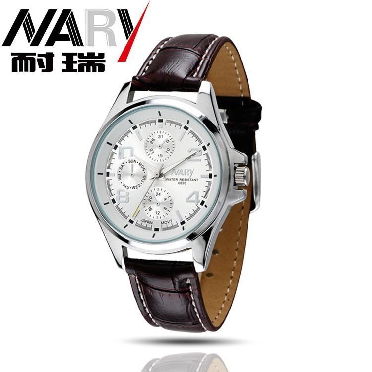 Spesifikasi Nary Jam Tangan Analog Strap Kulit 6050 Brown White Nary Terbaru
