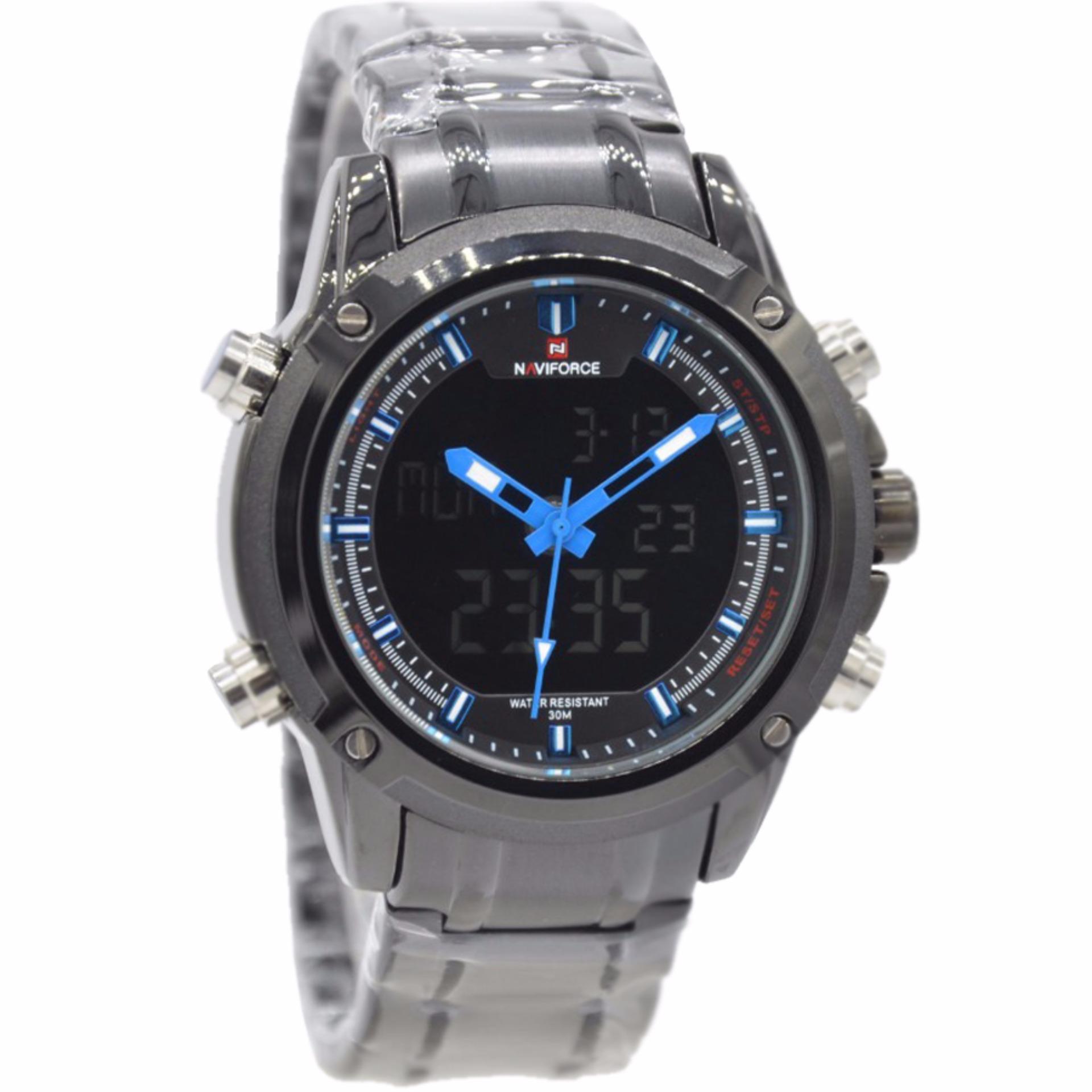 Harga Naviforce Nf09861 Dual Time Jam Tangan Pria Stainless Steel Hitam Biru Branded