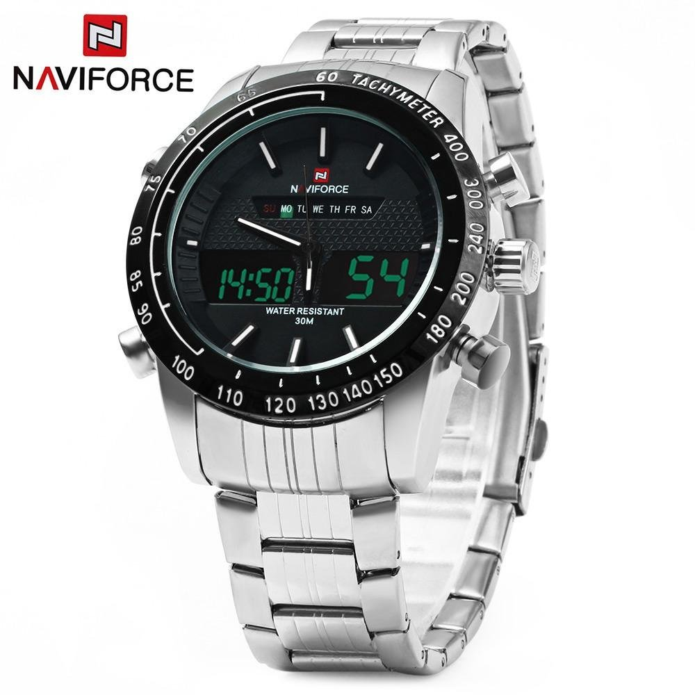 Situs Review Naviforce Nf9024 Dual Movt Pria Jam Kuarsa Analog Digital Led Wristwatch Kalender Jam Tangan Stainless Steel Strap Intl